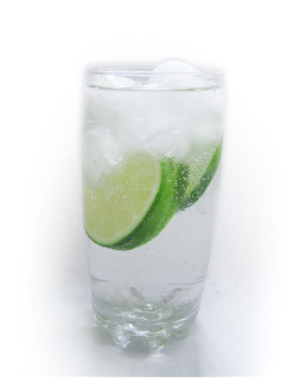 Picture Of Sparkling Water With Ice And Lime